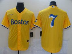 Mens 2021 Mlb Boston Red Sox #7 Yellow Cool Base Nike Jersey No Name