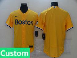 Mens 2021 Mlb Boston Red Sox Yellow Custom Made Flex Base Nike Jersey