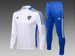 Mens 21-22 Soccer Atletico Boca Juniors White Half Zipper And Blue Sweat Pants Training Suit