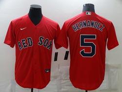 Mens Mlb Boston Red Sox #5 Enrique Hernandez Red Cool Base Nike Jersey