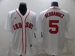 Mens Mlb Boston Red Sox #5 Enrique Hernandez White Cool Base Nike Jersey