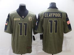 Mens Nfl Pittsburgh Steelers #11 Chase Claypool Olive Green 2021 Salute To Service Limited Nike Jersey